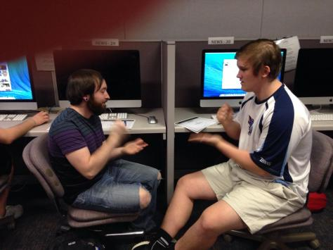 Jacob (left) and Kyle go head-to-head in a Rock, Paper, Scissors bracket battle.